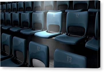 Highlighted Stadium Seat Canvas Print by Allan Swart