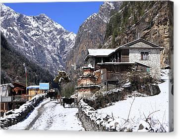 Canvas Print featuring the photograph Himalayan Mountain Village by Aidan Moran