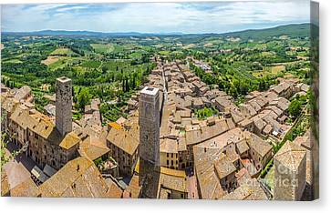 Historic Town Of San Gimignano With Tuscan Countryside, Tuscany, Canvas Print by JR Photography
