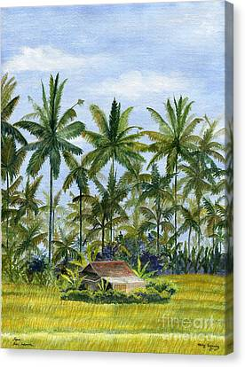 Canvas Print featuring the painting Home Bali Ubud Indonesia by Melly Terpening