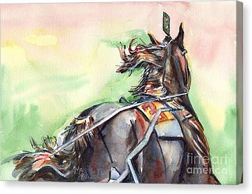 Bay Horse Canvas Print - Horse Art In Watercolor by Maria's Watercolor