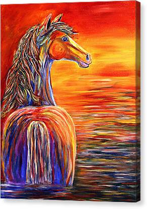 Canvas Print featuring the painting Horse In Still Waters by Jennifer Godshalk