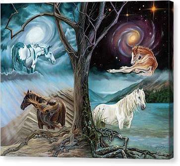 Horses Of The Four Elements Canvas Print by Kim McElroy