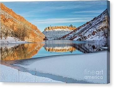 Horsetooth Reservoir In Winter Scenery Canvas Print by Marek Uliasz