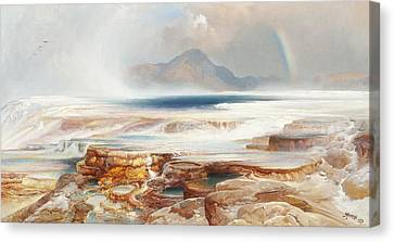 Hot Springs Of The Yellowstone Canvas Print by Thomas Moran
