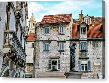 Houses And Cathedral Of Saint Domnius, Dujam, Duje, Bell Tower Old Town, Split, Croatia Canvas Print