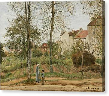 Houses At Bougival  Canvas Print by Camille Pissarro
