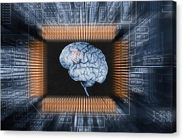 Human Brain And Communication Canvas Print by Christian Lagereek