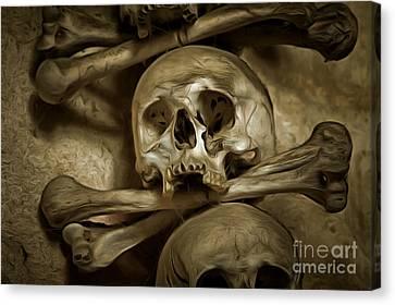 Human Skull And Bones Canvas Print by Michal Boubin