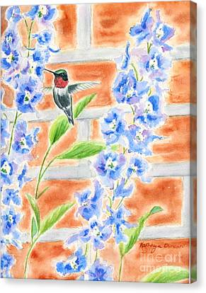 Hummer And Delphiniums Canvas Print by Kathryn Duncan