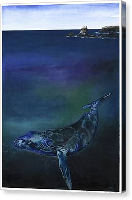 Canvas Print featuring the mixed media Humpback Whale by Anthony Burks Sr