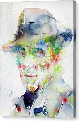 Humphrey Bogart - Watercolor Portrait.4 Canvas Print by Fabrizio Cassetta