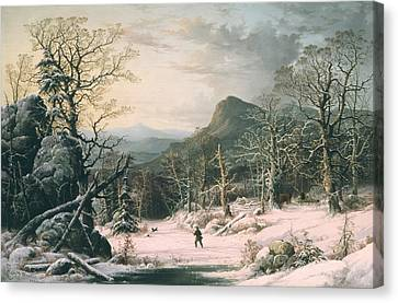 Hunter In Winter Wood  Canvas Print by George Henry Durrie