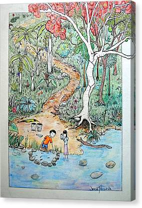 Canvas Print featuring the painting Hunting For Tadpoles by Josean Rivera