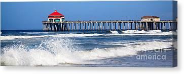 Huntington Beach Pier Panoramic Photo Canvas Print by Paul Velgos