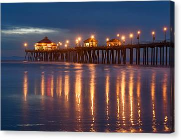 Canvas Print featuring the photograph Huntington Beach Pier At Night by Dung Ma
