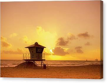 Phong Trinh Canvas Print - Huntington Beach Sunset by Phong Trinh