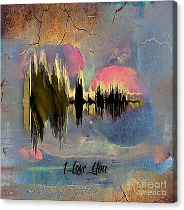Sound Canvas Print - I Love You Sound Wave by Marvin Blaine