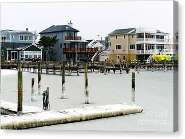 Canvas Print featuring the photograph Ice In The Bay by John Rizzuto