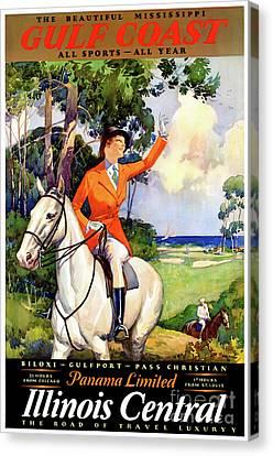 Illinois Mississippi Restored Vintage Poster Canvas Print by Carsten Reisinger