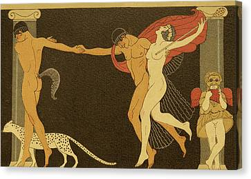 Illustration From Les Chansons De Bilitis Canvas Print by Georges Barbier