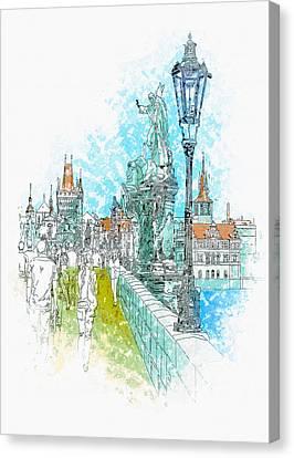 Illustration Of City Streets - Prague Canvas Print