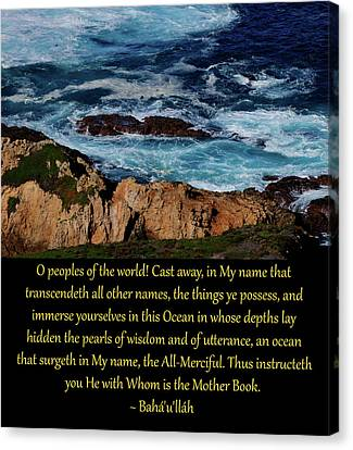 Immerse Yourselves In This Ocean Canvas Print by Baha'i Writings As Art