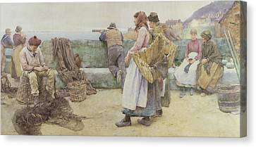 In A Cornish Fishing Village Canvas Print by Walter Langley