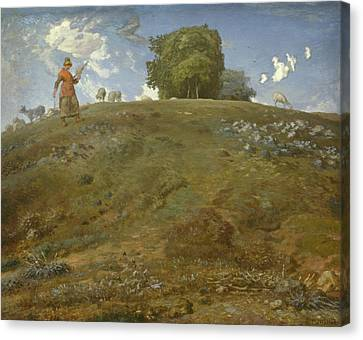 In The Auvergne Canvas Print by Jean Francois Millet