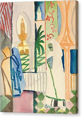 In The Temple Hall Canvas Print by August Macke