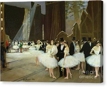 In The Wings At The Opera House Canvas Print by Jean Beraud