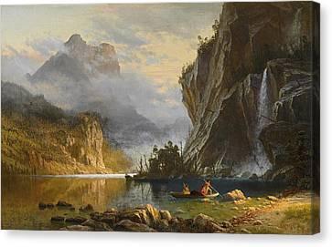 Indians Spear Fishing Canvas Print by Albert Bierstadt