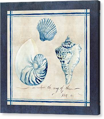 Scallop Shell Canvas Print - Indigo Ocean - Song Of The Sea by Audrey Jeanne Roberts