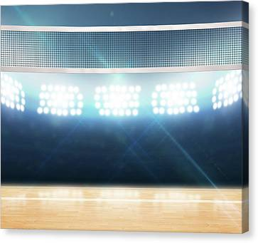 Indoor Floodlit Volleyball Court Canvas Print by Allan Swart