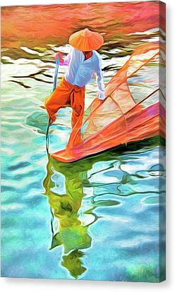 Inle Lake Leg-rower Canvas Print by Dennis Cox
