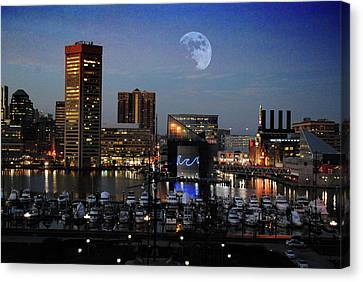 Inner Harbor Moon Rise  Canvas Print by Chet Dembeck