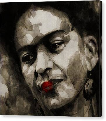 Red Lips Canvas Print - Inspiration - Frida Kahlo by Paul Lovering