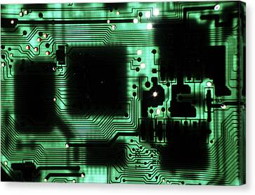 Integrated Circuit Board From A Computer Canvas Print by Sami Sarkis