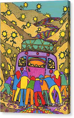 School Bus Canvas Print - Family Of Friends - On The Camino by Mag Pringle Gire