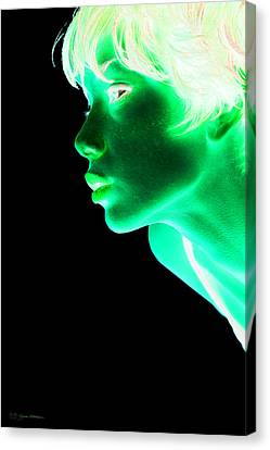 Inverted Realities - Green  Canvas Print by Serge Averbukh