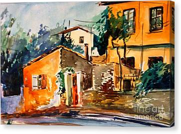 Ipiros Old Houses Canvas Print by George Siaba
