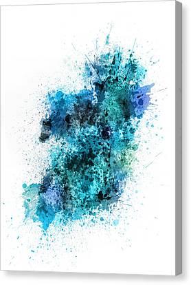 Ireland Map Paint Splashes Canvas Print by Michael Tompsett