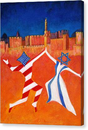 Israel And Usa Dancing Canvas Print by Jane  Simonson