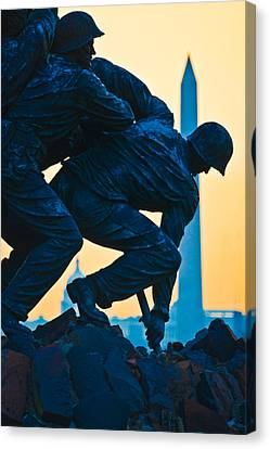 Arlington National Cemetery Canvas Print - Iwo Jima Memorial At Dusk by Panoramic Images