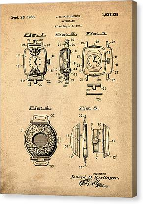J B Kislinger Watch Patent 1933 Red Canvas Print by Bill Cannon