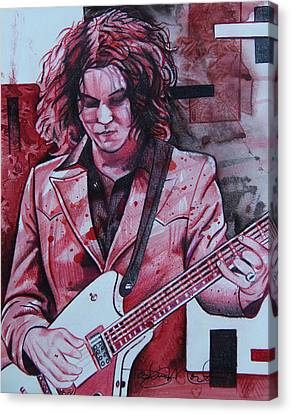 Canvas Print featuring the drawing Jack White by Joshua Morton