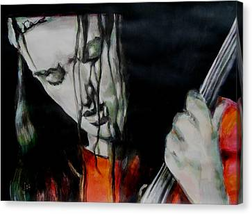 Jaco Pastorius Canvas Print by Lucia Hoogervorst