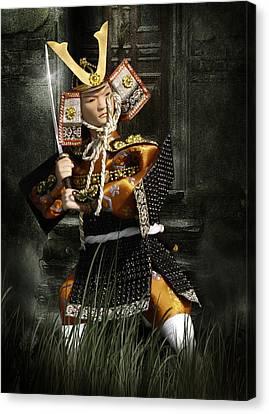 Japanese Samurai Doll Canvas Print by Christine Till