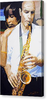 Jazz Muza Saxophon Canvas Print