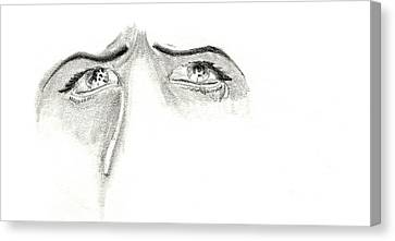Canvas Print featuring the drawing Je M'ennuie De Mon Amour  by Michael McKenzie